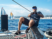 Emirates Team New Zealand sailor Jeremey Lomas. Day two of the Extreme Sailing Series at Nice. 3/10/2014