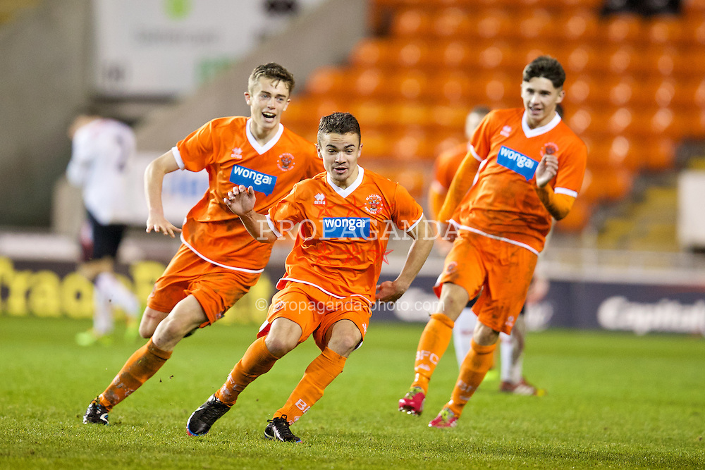 BLACKPOOL, ENGLAND - Wednesday, December 18, 2013: Blackpool's Dominic Telford celebrates scoring the third goal against Liverpool during the FA Youth Cup 3rd Round match at Bloomfield Road. (Pic by David Rawcliffe/Propaganda)