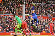 Sunderland goalkeeper Vito Mannone  punches the ball away during the Barclays Premier League match between Liverpool and Sunderland at Anfield, Liverpool, England on 6 February 2016. Photo by Simon Davies.