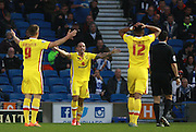 MK Dons midfielder Samir Carruthers leads the appeal for a penalty during the Sky Bet Championship match between Brighton and Hove Albion and Milton Keynes Dons at the American Express Community Stadium, Brighton and Hove, England on 7 November 2015. Photo by Bennett Dean.