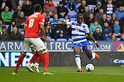 Early second half shot on goal for Reading's Ola John during the Sky Bet Championship match between Reading and Charlton Athletic at the Madejski Stadium, Reading, England on 17 October 2015. Photo by Mark Davies.
