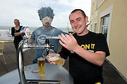 Brian Farrell from waterford  pulls his own Pint at the Budweiser Ice Cold Summer BBQ, broadcast live on the Tony Fenton Show at The Galway Bay Hotel in Salthill. Photo:Andrew Downes.. .Both Duke Special and The Divine Comedy performed at the summer kick-off party and Today FM's Tony Fenton Show broadcast live from the hotel all afternoon...The 150 invited guests included Today FM listeners ad Budweiser Ice Cold Facebook fans from all over the country. Guests also won the chance to win a cool Grand in cash, meet Mr. Iceman and of course enjoy a pint of Budweiser Ice Cold, the coldest pint ever!..Enjoy Budweiser Ice Cold sensibly visit www.drinkaware.ie ..This event was strictly over 18's,..-ENDS-..FOR FURTHER INFORMATION PLEASE CONTACT:.Killian Burns / Aoiffe Madden..Killian.burns@ogilvy.com / aoiffe.madden@ogilvy.com.WHPR..Tel: 01 6690030.