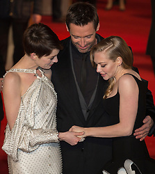 © licensed to London News Pictures. London, UK 05/12/2012. Anne Hathaway, Amanda Seyfried and Hugh Jackman attending World Premiere of Les Miserables in Leicester Square, London. Photo credit: Tolga Akmen/LNP