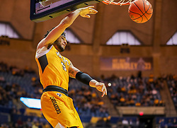 Nov 24, 2018; Morgantown, WV, USA; Valparaiso Crusaders guard Markus Golder (5) dunks the ball during the first half against the West Virginia Mountaineers at WVU Coliseum. Mandatory Credit: Ben Queen-USA TODAY Sports