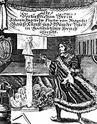 Frontispiece of late edition of Johannnes Baptista della Porta (1543 - 1615) 'Magia Naturalis' (Nuremberg 1715).  Picture includes a number of essential alchemical features such as the philosopher's egg, the hermetic vase and the Sun (gold). Engraving.