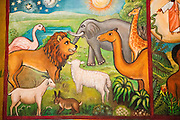 Noah's Ark Naive Paintings (Ethiopian style) of biblical stories in a church in kalacha Kenya