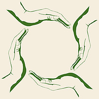 Four people hands making circle conceptual green round symbol, eco-friendly, sustainability and environment concept, isolated illustration on white background