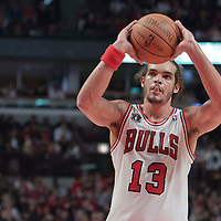30 October 2010: Chicago Bulls Joakim Noah is seen at the free throw line during the Chicago Bulls 101-91 victory over the Detroit Pistons at the United Center, in Chicago, Illinois, USA.