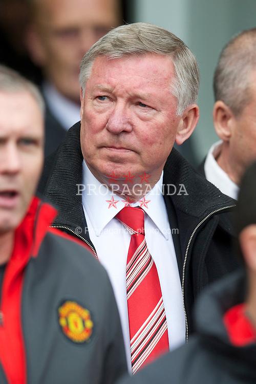 BLACKBURN, ENGLAND - Saturday, May 14, 2011: Manchester United's manager Alex Ferguson before the Premiership match against Blackburn Rovers at Ewood Park. (Photo by David Rawcliffe/Propaganda)
