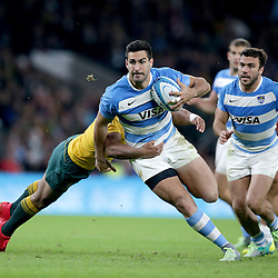 Jeronimo de la Fuente of Argentina goes past Will Genia of Australia during the The Rugby Championship match between Argentina and Australia at Twickenham Stadium, Twickenham - 08/10/2016<br />