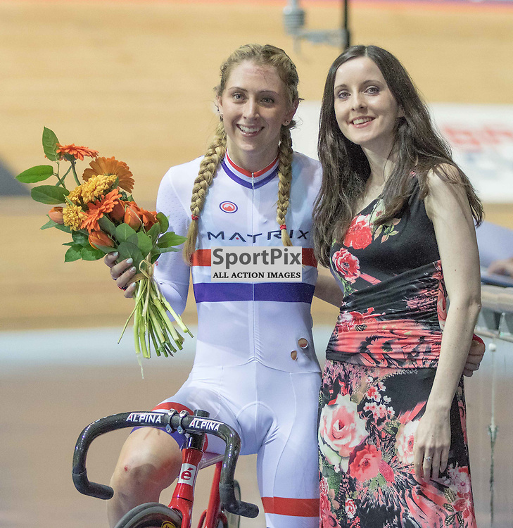 Laura Trott receives the bouquet after winning the 20km Points Race at the Revoultion Series 2015/6 Round 5 Manchester, on 2 January 2016 ( (Photo by Mike Poole - SportPix)