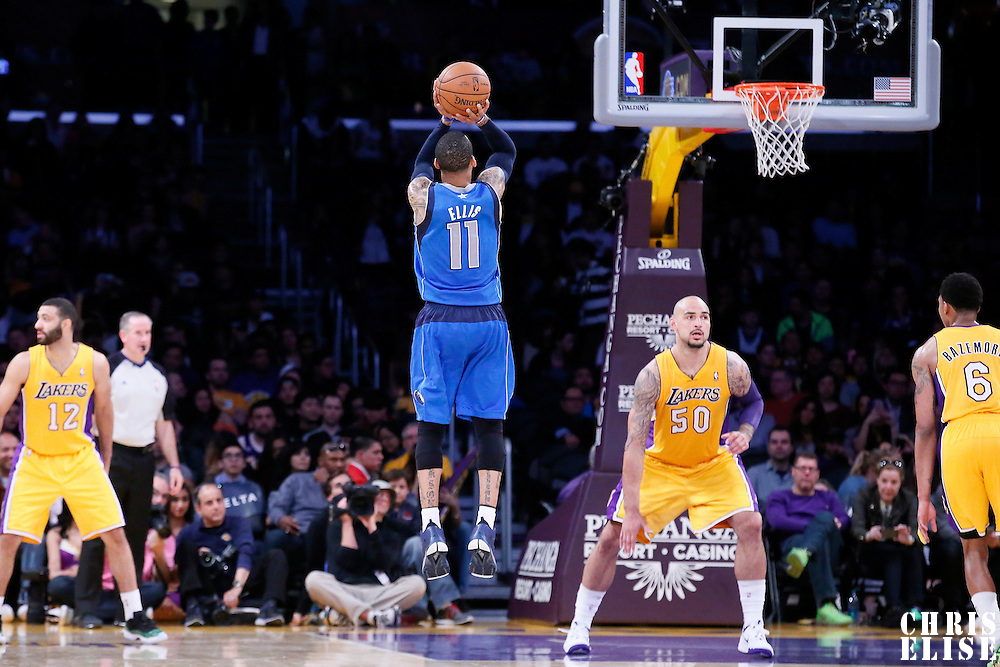 04 April 2014: Dallas Mavericks guard Monta Ellis (11) takes a jump shot during the Dallas Mavericks 107-95 victory over the Los Angeles Lakers at the Staples Center, Los Angeles, California, USA.