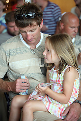 Rower Iztok Cop and his daughter of Slovenian Olympic Team at departure to Beijing 2008 Olympic games, on July 31, 2008, at Airport Jozeta Pucnika, Brnik, Slovenia. (Photo by Vid Ponikvar / Sportal Images)/ Sportida)