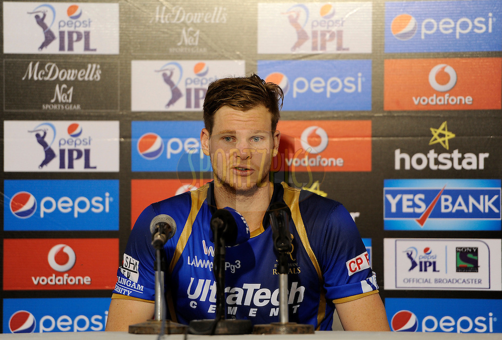 Steven Smith of Rajasthan Royals addresses a press conference after match 9 of the Pepsi IPL 2015 (Indian Premier League) between The Rajasthan Royals and The Mumbai Indians held at the Sardar Patel Stadium in Ahmedabad , India on the 14th April 2015.<br /> <br /> Photo by:  Pal Pillai / SPORTZPICS / IPL