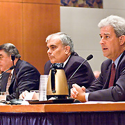 "From left: Jeff Griffith, Former Deputy Director, Air Trafic Control, FAA; Monte Belger, Former Acting Deputy Administrator, FAA; John S. White, former Facility Manager, Air Traffic Control Systems Command Center, FAA; Benedict Sliney, Operations Manager, New York Terminal Radar Approach Control, FAA.Panel: FAA Response on 9/11. The 9/11 Commission's 12th public hearing on ""The 9/11 Plot"" and ""National Crisis Management"" was held June 16-17, 2004, in Washington, DC."