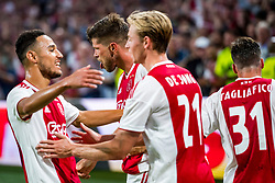 14-08-2018 NED: Champions League AFC Ajax - Standard de Liege, Amsterdam<br /> Third Qualifying Round,  3-0 victory Ajax during the UEFA Champions League match between Ajax v Standard Luik at the Johan Cruijff Arena / Klaas Jan Huntelaar #9 of Ajax, Frenkie de Jong #21 of Ajax