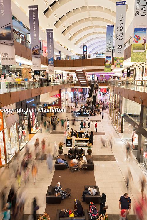 View of interior of busy Dubai Mall in United Arab Emirates UAE
