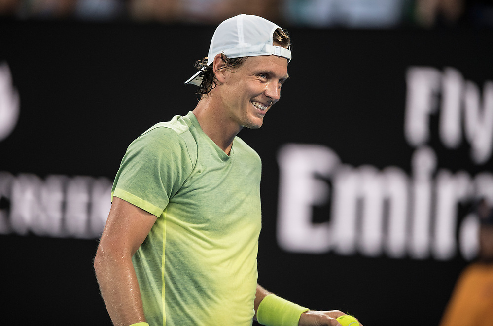 Tomas Berdych of the Czech Republic on day ten of the 2018 Australian Open in Melbourne Australia on Wednesday January 24, 2018.<br /> (Ben Solomon/Tennis Australia)