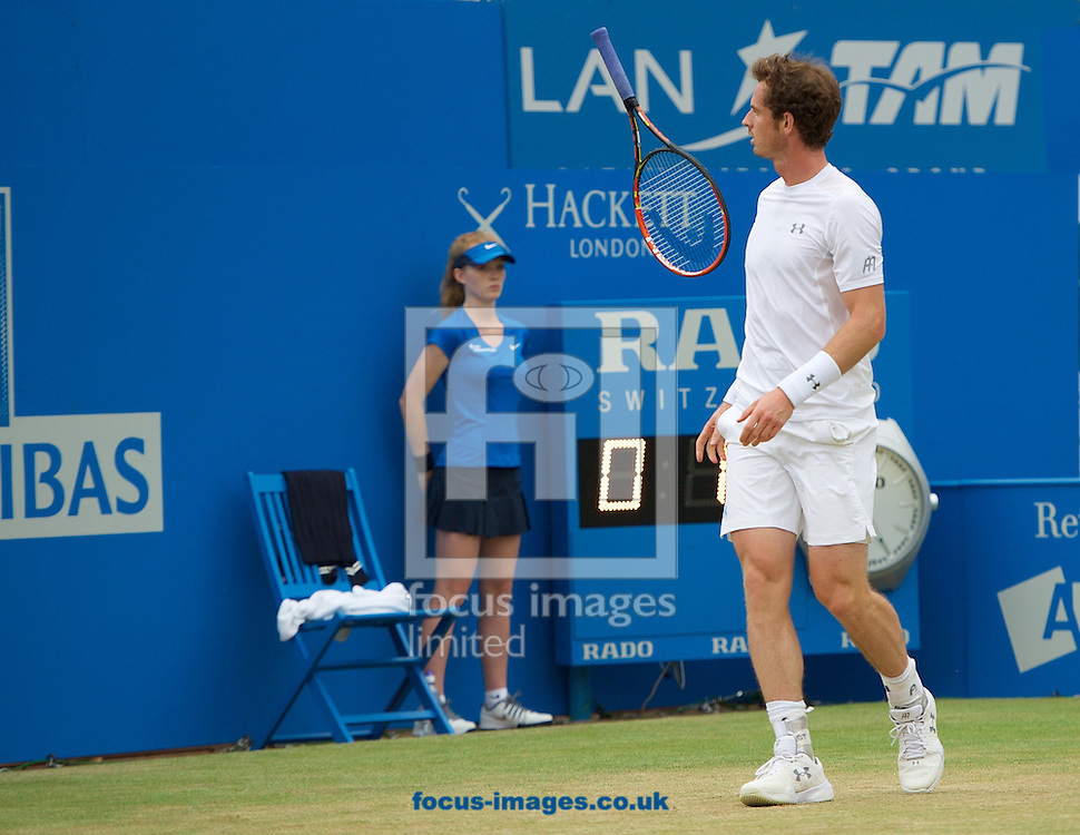 Andy Murray of Great Britain throws his racket in frustration during his semi-final final match against Viktor Troicki of Serbia in Aegon Championships at the Queen's Club, West Kensington<br /> Picture by Alan Stanford/Focus Images Ltd +44 7915 056117<br /> 20/06/2015