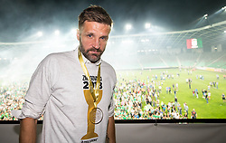 Igor Biscan, head coach of NK Olimpija Ljubljana posing with a medal after winning during football match between NK Aluminij and NK Olimpija Ljubljana in the Final of Slovenian Football Cup 2017/18, on May 30, 2018 in SRC Stozice, Ljubljana, Slovenia. Photo by Vid Ponikvar / Sportida