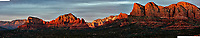 Sedona Panorama at Sunset. Composite of 11 images taken with a Nikon 1 V2 camera and 32 mm f/1.2 lens (ISO 200, 32 mm, f/5.6, 1/40 sec).