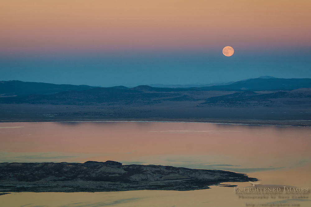 Full moon rising over Mono Lake at sunset, Mono County, Eastern Sierra, California