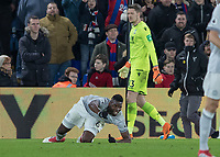 Football - 2017 / 2018 Premier League - Crystal Palace vs. Manchester United<br /> <br /> Paul Pogba (Manchester United) prepares to get to his feet as he looks to the referee for a penalty at Selhurst Park.<br /> <br /> COLORSPORT/DANIEL BEARHAM