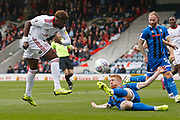 Paul McShane of Rochdale blacks a shot from Offrande Zanzala of Accrington   during the EFL Sky Bet League 1 match between Rochdale and Accrington Stanley at the Crown Oil Arena, Rochdale, England on 12 October 2019.