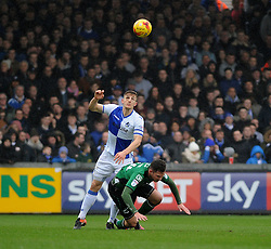 Tom Lockyer of Bristol Rovers wins this challenge with Tom Hopper of Scunthorpe United - Mandatory by-line: Neil Brookman/JMP - 25/02/2017 - FOOTBALL - Memorial Stadium - Bristol, England - Bristol Rovers v Scunthorpe United - Sky Bet League One