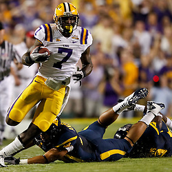 Sep 25, 2010; Baton Rouge, LA, USA; LSU Tigers returner Patrick Peterson (7) runs back a punt during the first quarter against the West Virginia Mountaineers at Tiger Stadium.  Mandatory Credit: Derick E. Hingle