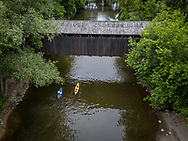 Kayaking on the Thornapple River, a tributary of the Grand River, near Ada, Michigan.