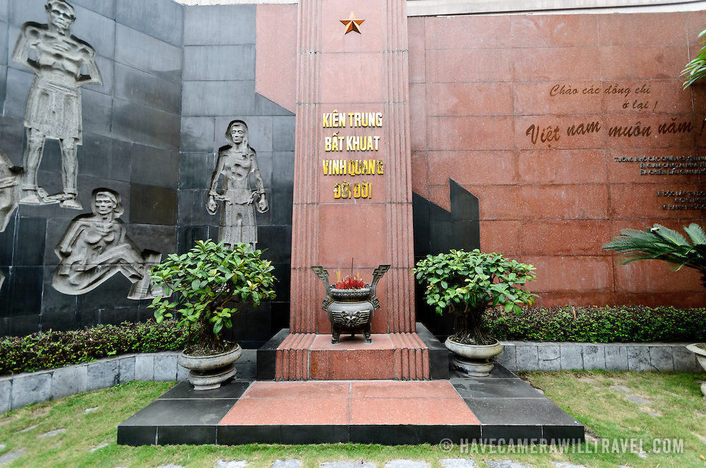 A memorial at Hoa Lo Prison for those who died and were incarcerated ni the prison under French colonial rule of Indochina. Hoa Lo Prison, also known sarcastically as the Hanoi Hilton during the Vietnam War, was originally a French colonial prison for political prisoners and then a North Vietnamese prison for prisoners of war. It is especially famous for being the jail used for American pilots shot down during the Vietnam War.
