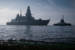 © Licensed to London News Pictures. 02/11/2017. Portsmouth, UK.  HMS Dragon sails into her home port of Portsmouth for the first time in two months.  The Type 45 destroyer has been on a deployment involving exercises with the U.S. Navy and also a visit to the British Overseas Territory of Gibraltar.  Photo credit: Rob Arnold/LNP