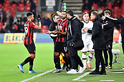Substitution - Callum Wilson (13) of AFC Bournemouth replaces Junior Stanislas (19) of AFC Bournemouth during the The FA Cup match between Bournemouth and Luton Town at the Vitality Stadium, Bournemouth, England on 4 January 2020.