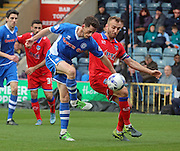 Ian Henderson & Liam Kelly during the Sky Bet League 1 match between Rochdale and Oldham Athletic at Spotland, Rochdale, England on 24 October 2015. Photo by Daniel Youngs.
