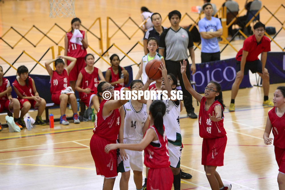 Clementi Sports Hall, Wednesday, August 28, 2013 — Anglican High took advantage of defensive lapses in the third quarter to beat Dunman Secondary 47–33 in the semi-final of the National C Division Girls' Basketball Championship.