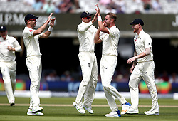 Stuart Broad of England celebrates taking the wicket of Heino Kuhn of South Africa - Mandatory by-line: Robbie Stephenson/JMP - 07/07/2017 - CRICKET - Lords - London, United Kingdom - England v South Africa - Investec Test Series