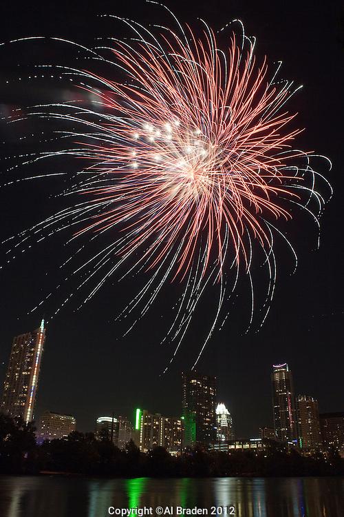 Fourth of July Fireworks over Lady Bird Lake, Austin, TX