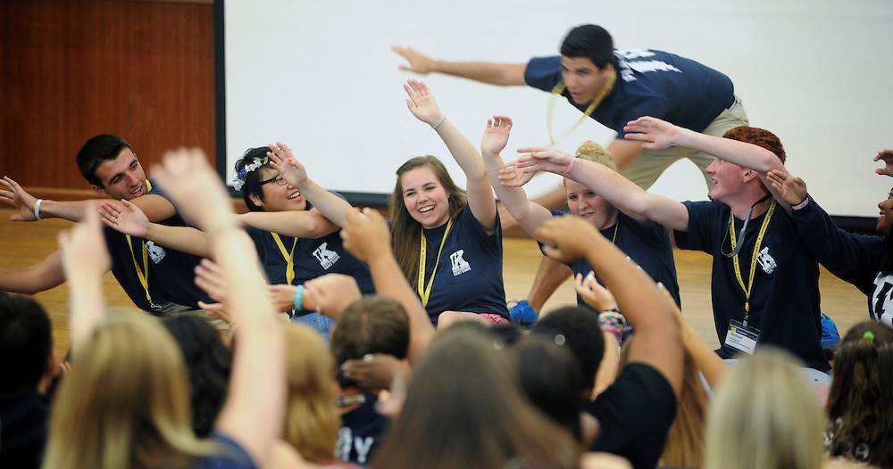 Destination Kent State Flashguides excite the crowd during the opening session. Flashguides steer DKS attendies through the process. In many cases, they are a student's first impression of Kent State.