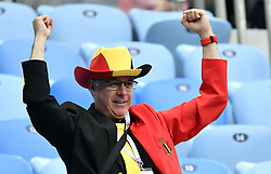 July 10, 2018 - Saint-Petersburg, RUSSIA - A Belgian supporter wearing a formal suit (costume) and hat in the Belgian flag colours, pictured at the semi final match between the French national soccer team 'Les Bleus' and Belgian national soccer team the Red Devils, in Saint-Petersburg, Russia, Tuesday 10 July 2018. ..BELGA PHOTO DIRK WAEM (Credit Image: © Dirk Waem/Belga via ZUMA Press)