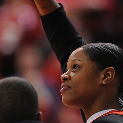 Mar 2, 2009; Piscataway, NJ, USA; Rutgers senior center Kia Vaughn during the senior night ceremony honoring the women's basketball team's graduating seniors prior to their matchup with #1 Connecticut.