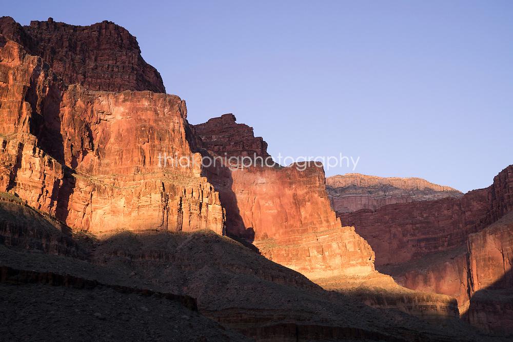 Dramatic lighting on the walls of the Grand Canyon, AZ