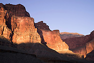 Dramatic lighting on the walls of the Grand Canyon, AZ