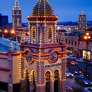 Vertical photo of Kansas City's Plaza Lights on a Saturday evening.