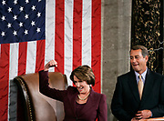U.S. Speaker of the House Nancy Pelosi (D-Ca) reacts as she takes the podium for the first time after being elected the first ever female Speaker of the U.S. House of Representatives on the first day of the 110th Congress in Washington, January 4, 2007.  REUTERS/Jim Young