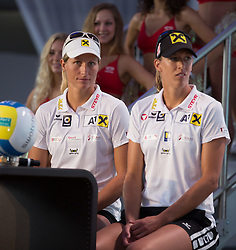 28.07.2015, Klagenfurt, Strandbad, AUT, A1 Beachvolleyball EM 2015, Pressekonferenz, im Bild Barbara Hansel Stefanie Schweiger // during Press Conference of the A1 Beachvolleyball European Championship at the Strandbad Klagenfurt, Austria on 2015/07/28. EXPA Pictures © 2015, EXPA Pictures © 2015, PhotoCredit: EXPA/ Mag. Gert Steinthaler