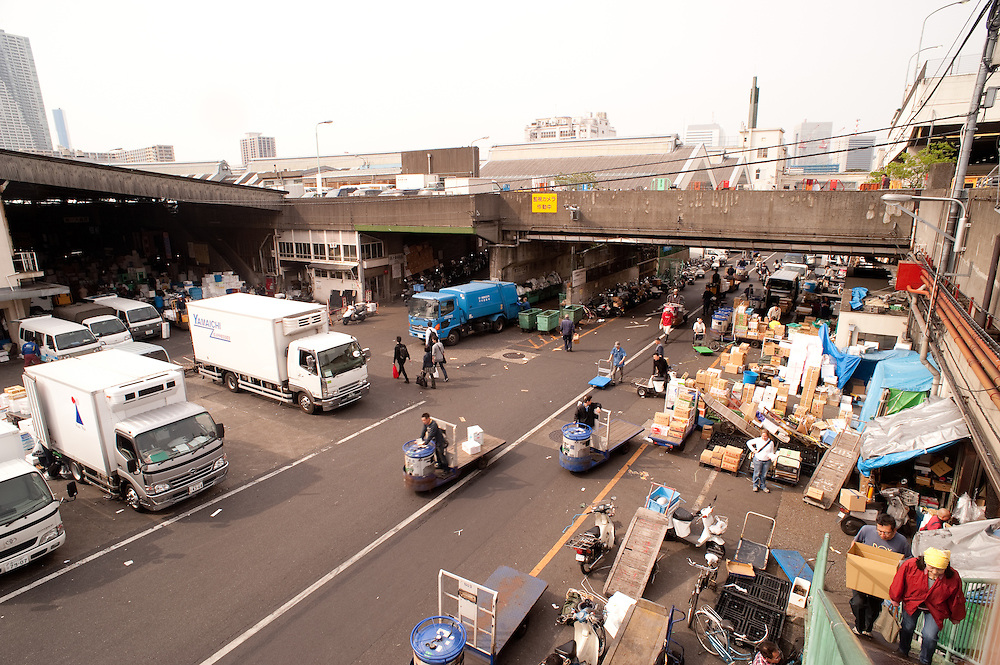 Overview of the Tsukiji Fish Market from subway bridge