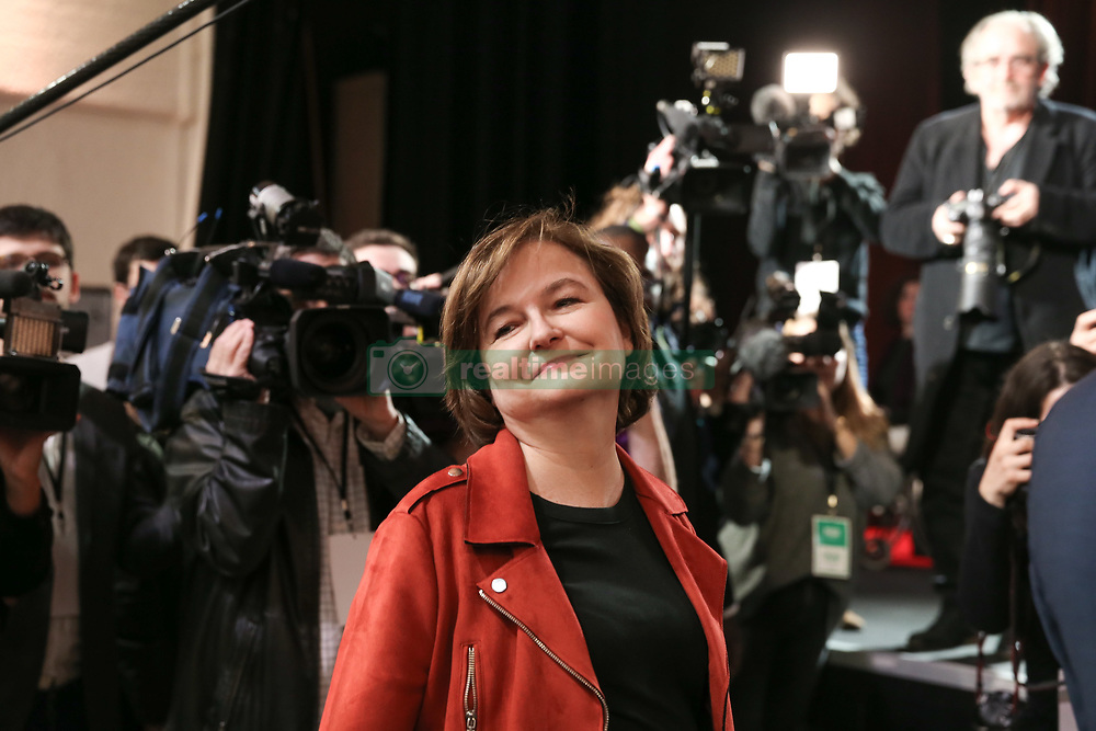 March 26, 2019 - Paris, Ile-de-France, France - French Minister attached to the Foreign Affairs Minister Nathalie Loiseau (C) poses during a press conference in Paris on March 26, 2019, during which the La Republique en Marche (LREM) party reveals the names of its 30 European election candidates...Nathalie Loiseau resign from the government to head up President Emmanuel Macron's party list for the European election. (Credit Image: © Michel Stoupak/NurPhoto via ZUMA Press)