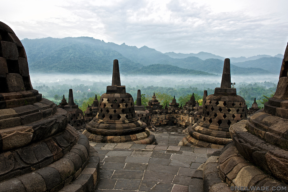 Sunrise a the ancient Buddhist temple, Borobudur.