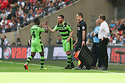 Forest Green Rovers Sam Wedgbury(8) replaces Forest Green Rovers Drissa Traoré(4) during the Vanarama National League Play Off Final match between Tranmere Rovers and Forest Green Rovers at Wembley Stadium, London, England on 14 May 2017. Photo by Shane Healey.